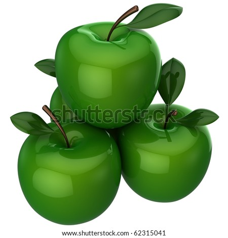 Sweet shiny ripened apples with little leaves. This is a detailed 3D rendering (Hi-Res). Isolated on white. - stock photo