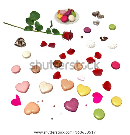sweet small things, cookies and a rose flower isolated on white - ready to be cut and placed - stock photo