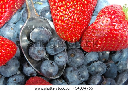 Sweet Strawberries & Blueberries - stock photo