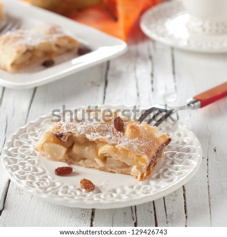 Sweet strudel with pear, square image - stock photo