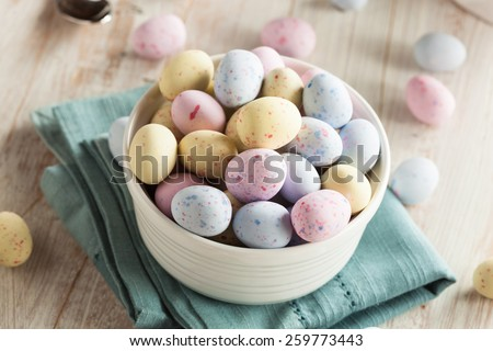 Sweet Sugary Easter Candy in a Bowl - stock photo