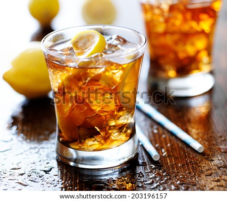 sweet tea with lemon and ice - stock photo