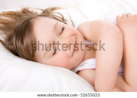 sweet toddler little girl sleeping - stock photo