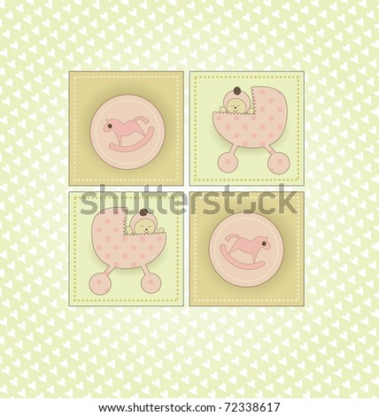 Sweet Welcome the New Baby Card - stock photo