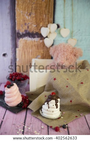 sweet white marshmallow meringue with decorations  - stock photo