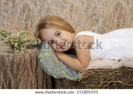 Sweet young girl resting her head on a pillow upon a hay bale.  - stock photo
