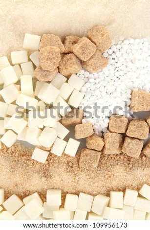 Sweetener with white and brown sugar close-up - stock photo