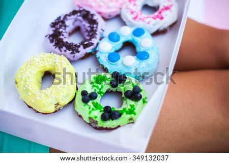 sweets and colorful donuts - stock photo