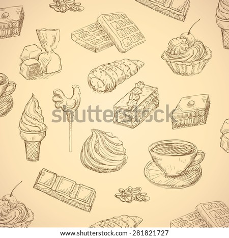 sweets hand drawn food set - stock photo