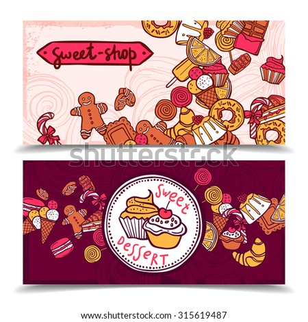 Sweetshop vintage chocolate cupcakes desserts confectionary store ginger boy cookies horizontal banners set abstract isolated  illustration - stock photo