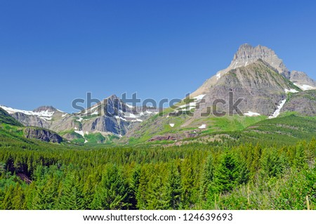 Swiftcurrent Pass are in Glacier National Park - stock photo