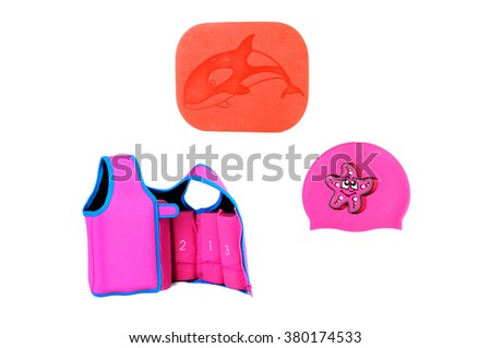 Swimming Accessory for Swimming Pool Isolated on White Background. Board swimming, cap for the pool and a life jacket - stock photo