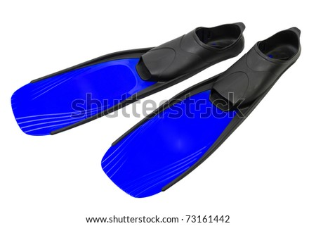 swimming Flippers, isolated on white - stock photo