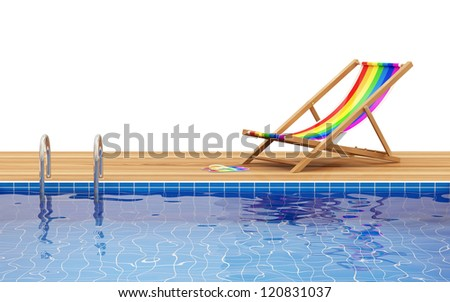 Swimming Pool and Deck Chair isolated on white background with place for your text - stock photo
