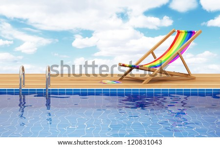 Swimming Pool and Deck Chair with beautiful clouds behind - stock photo