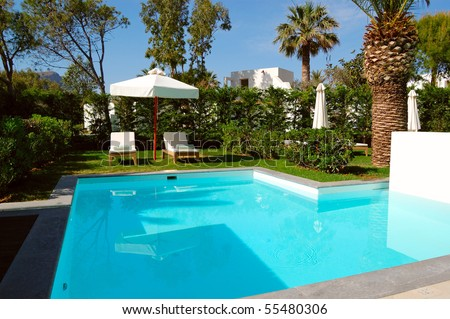 Swimming pool at luxury villa, Crete, Greece - stock photo