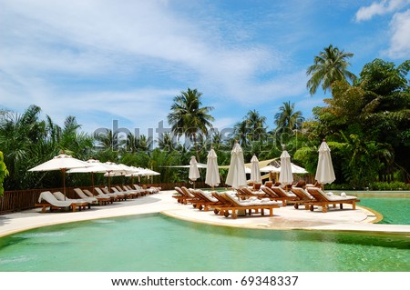 Swimming pool at the luxury hotel, Phuket, Thailand - stock photo