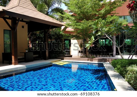 Swimming pool at the luxury villa, Pattaya, Thailand - stock photo
