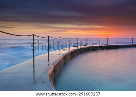 Swimming pool closed to the sea, Bronte beach, Australia. - stock photo