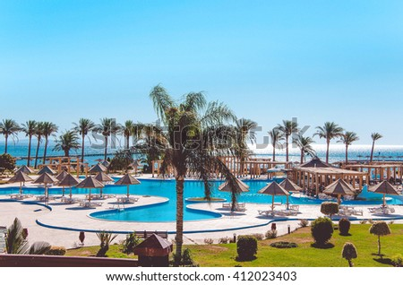 Swimming pool, Egypt. Recreational area. Landscape with nobody swimming pool at luxury hotel - stock photo