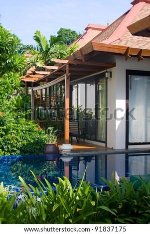 Swimming pool in house. Thailand . - stock photo