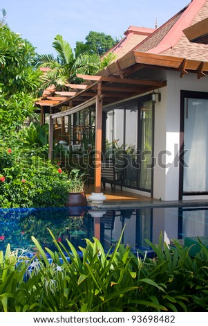 Swimming pool in house . Thailand . - stock photo