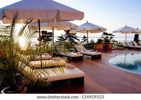 Swimming pool of luxury hotel - stock photo