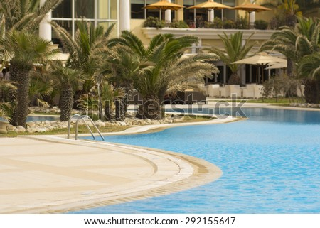 Swimming pool of the luxury hotel in Sousse, Tunisia - stock photo