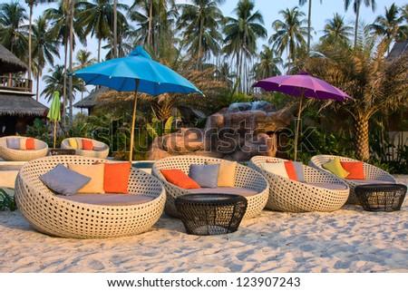 Swimming pool on the beach - stock photo