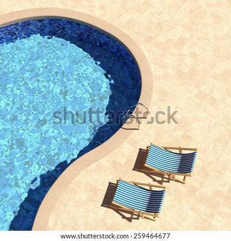 Swimming pool with deckchairs top view. 3D render. - stock photo