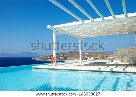 Swimming Pool with island view - stock photo