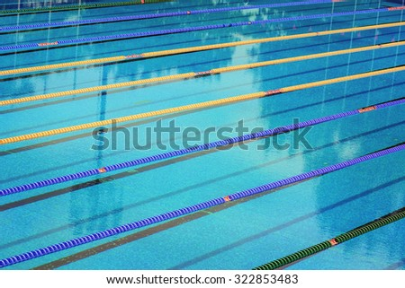 Swimming Pool With Lane Ropes - stock photo