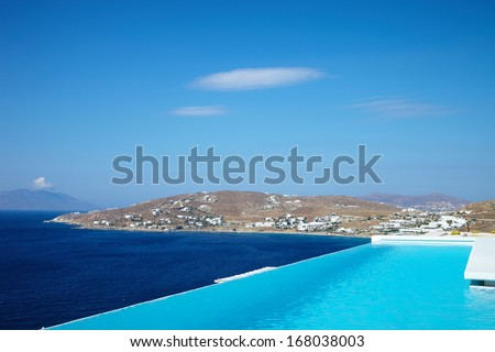 Swimming Pool with sea view - stock photo