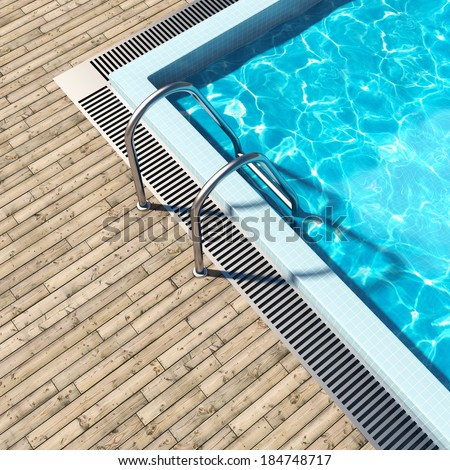 Swimming pool with wooden deck and metal stair - stock photo