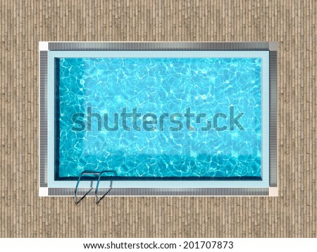 Swimming pool with wooden deck top view - stock photo