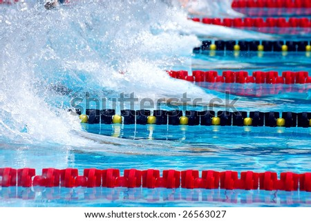 swimming start in waterpool with blue water - stock photo