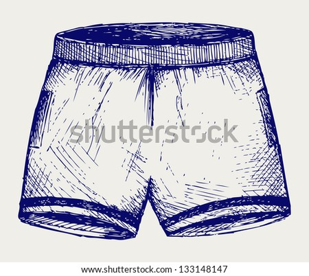 Swimming trunks. Doodle style. Raster version - stock photo