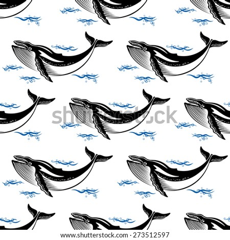 Swimming whale seamless pattern with a baleen whale amongst ocean waves in square format for nautical themed wallpaper or fabric design - stock photo