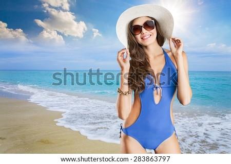 Swimsuit, fashion, tan. - stock photo