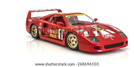 SWINDON, UK - APRIL 2, 2015: Ferrari F40 in race trim on a white background - stock photo