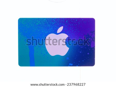 SWINDON, UK - DECEMBER 16, 2014:Apple iTunes card on a white background - stock photo