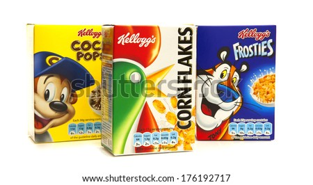 SWINDON, UK - FEBRUARY 11, 2014: Kelloggs cerials on a white background - stock photo