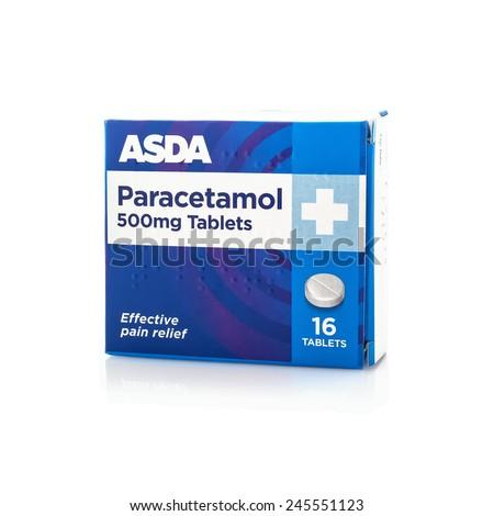 SWINDON, UK - JANUARY 15, 2015: Box Anadin of 500mg Paracetamol Tablets on a white background  - stock photo