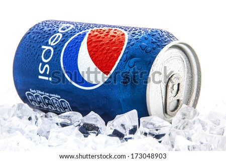SWINDON, UK - JANUARY 25, 2014: Can of Pepsi cola on a bed of ice and white background, Pepsi is a carbonated soft drink produced PepsiCo. Created in 1893 - stock photo