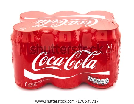 SWINDON, UK - JANUARY 10, 2014: Coca-Cola multi pack on a white background, Coca-Cola is a carbonated soft drink sold in stores, restaurants, and vending machines throughout the world. - stock photo