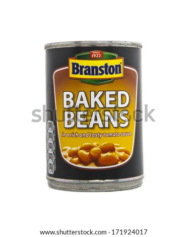 SWINDON, UK - JANUARY 18, 2014: Tin of Branston Baked Beans in a rich and tasty tomato sauce on a white background - stock photo