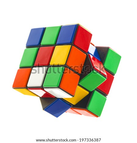 SWINDON, UK - JUNE 8, 2014:  Rubik's cube on a White Background. The  Rubik's Cube was  invented by the Hungarian architect Erno Rubik in 1974.  - stock photo