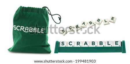 "SWINDON, UK - JUNE 12, 2014: Scrabble Tile Bag from the Word Game and the word ""Scrabble"" on a White Background - stock photo"