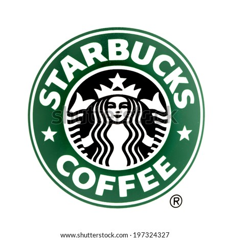 SWINDON, UK - JUNE 8, 2014: Starbucks logo on a White Background, Starbucks is the largest coffeehouse company in the world - stock photo