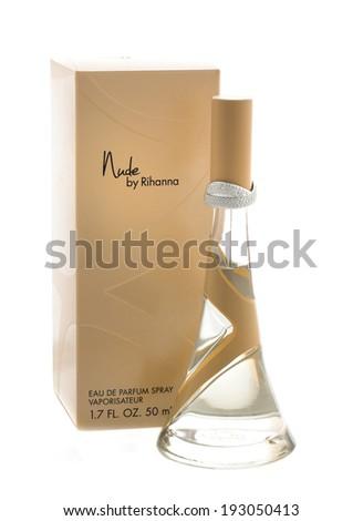 SWINDON, UK - MAY 14, 2014: Bottle of the New Rihanna Perfume Nude on a White Background - stock photo